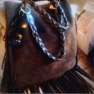 Handbags - 🍒D2-Large Brown Suede Fringed Boho Shoulder Bag